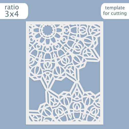 plotter: Laser cut wedding invitation card template.  Cut out the paper card with lace pattern.  Greeting card template for cutting plotter. Vector. Illustration