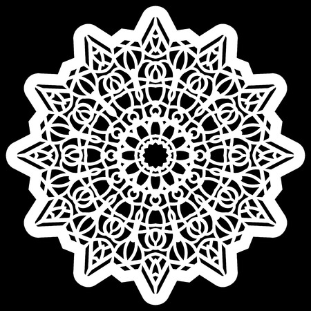 Lace round paper doily, lacy snowflake, greeting element,  template for cutting  plotter, round pattern, laser cut  template, doily to decorate the cake,  vector illustrations. Çizim