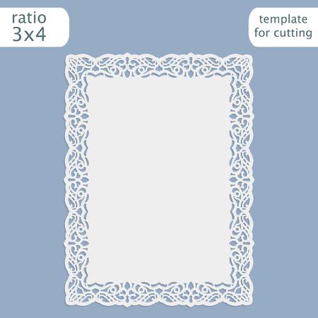 cortar la plantilla de la boda tarjeta de invitación con láser con borde calado. Cortar la tarjeta de papel con el patrón de encaje. Plantilla de la tarjeta para plotter de corte. Vector.