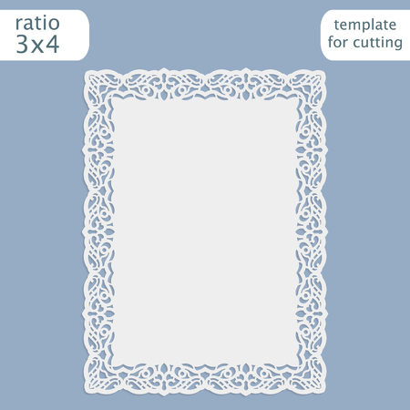 to cut out: Laser cut wedding invitation card template with openwork border.  Cut out the paper card with lace pattern.  Greeting card template for cutting plotter. Vector. Illustration