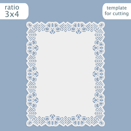 pasteboard: Laser cut wedding invitation card template with openwork border.  Cut out the paper card with lace pattern.  Greeting card template for cutting plotter. Vector. Illustration