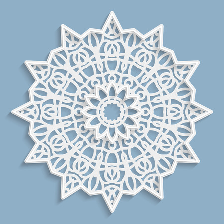 Lace 3D mandala, round symmetrical openwork pattern, lacy doily, decorative  snowflake, arabic ornament, indian ornament, embossed pattern, decorative design element,  vector