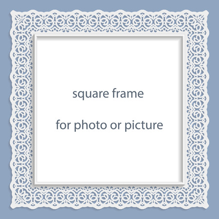 3D Vector bas-relief square frame for photo or picture, vintage vignette with openwork border,  festive pattern, gift template.