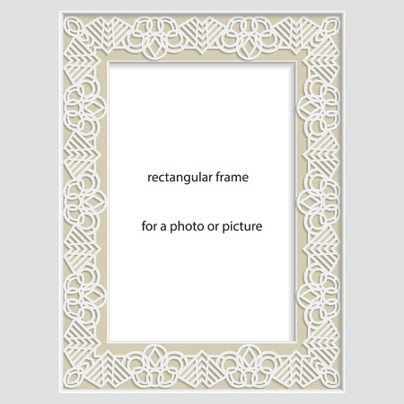 rectangular: 3D Vector bas-relief rectangular frame for photo or picture, vintage vignette with openwork border,  festive pattern, gift template.