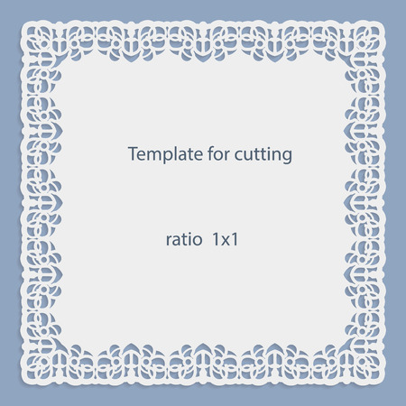 pasteboard: Greeting card with openwork border, paper doily under the cake, template for cutting, wedding invitation, decorative plate is laser cut, frame with lace edge, vector illustrations.