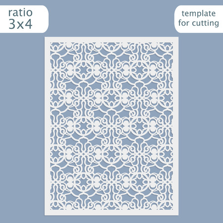 Laser cut wedding invitation card template. Cut out the paper card with lace pattern. Greeting card template for cutting plotter. Vector. 矢量图片