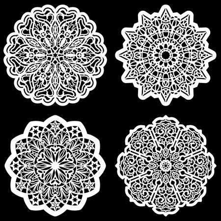decorate element: Set of design elements, lace round paper doily, doily to decorate the cake, template for cutting, snowflake, greeting element, vector illustrations