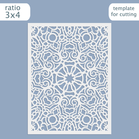 decorative pattern: Laser cut wedding invitation card template.  Cut out the paper card with lace pattern.  Greeting card template for cutting plotter. Vector. Illustration