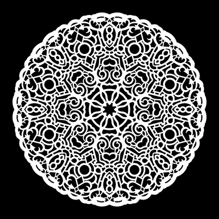 decorate element: Lace round paper doily, lacy snowflake, greeting element,  template for cutting  plotter, round pattern, laser cut  template, doily to decorate the cake,  vector illustrations. Illustration