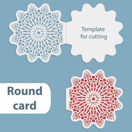 Laser cut wedding round card template, paper openwork greeting card, template for cutting, lace invitation, card for Christmas and New Year, vector illustration Illustration