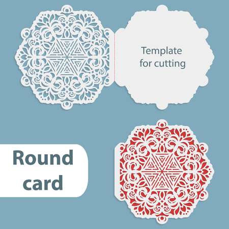 pasteboard: Laser cut wedding round card template, paper openwork greeting card, template for cutting, lace invitation, card for Christmas and New Year, vector illustration Illustration