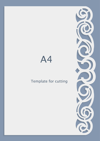 cutting: A4 paper lace greeting card, wedding invitation, white pattern, cut-out template,  template congratulation, perforation pattern, laser cutting template,  vector