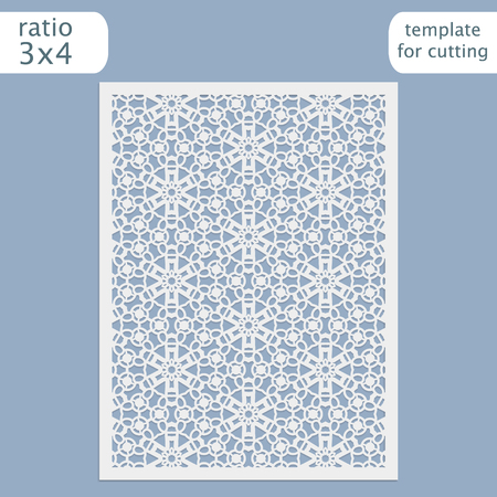 pasteboard: Laser cut wedding invitation card template.  Cut out the paper card with lace pattern.  Greeting card template for cutting plotter. Vector. Illustration