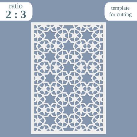 decorative pattern: Laser cut wedding card template, paper openwork greeting card, template for cutting, lace invitation, lasercut metal panel, wood carving, vector illustration
