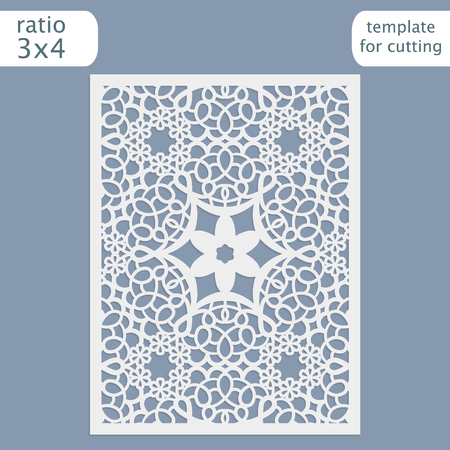 Laser cut wedding invitation card template.  Cut out the paper card with lace pattern.  Greeting card template for cutting plotter. Vector. Illustration