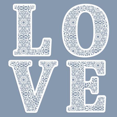 Sjablonen voor het opschrijven van letters van het woord 'liefde'. Kan worden gebruikt voor laser snijden. Fancy kantletters.