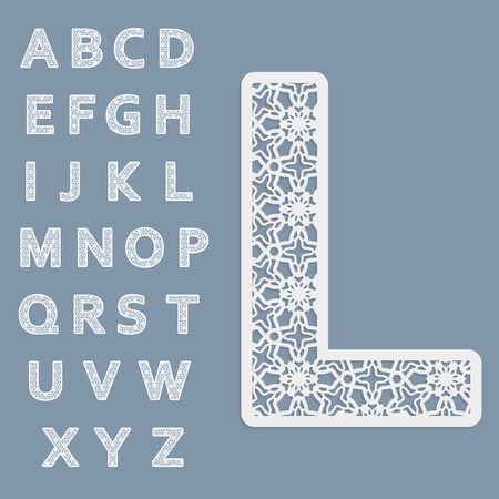 openwork: Templates for cutting out letters. Full English alphabet.  May be used for laser cutting. Fancy lace letters. Illustration