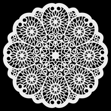 Lace round paper doily, lacy snowflake, greeting element,  template for cutting  plotter, round pattern, laser cut  template, doily to decorate the cake,  vector illustrations. 일러스트