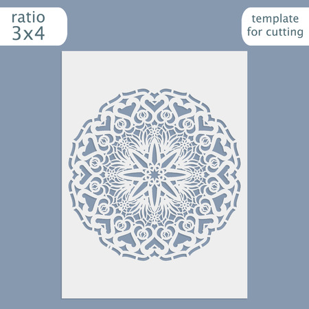 openwork: Laser cut wedding invitation card template.  Cut out the paper card with lace pattern.  Greeting card template for cutting plotter. Vector. Illustration