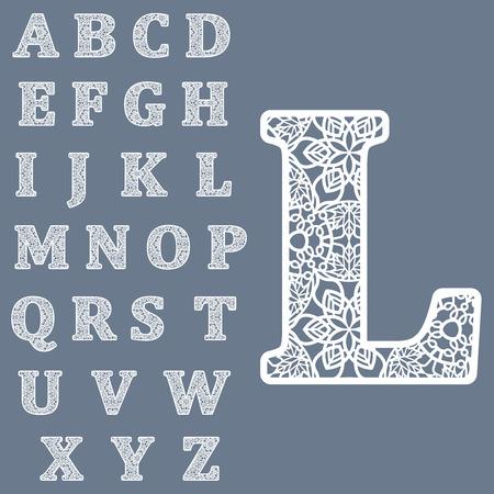 文字を切り出すのためのテンプレート。完全な英語のアルファベット。 レーザーの切断の使用可能性があります。派手なレースの手紙。