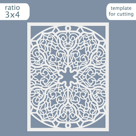 openwork: Laser cut wedding invitation card template.  Cut out the paper card with lace pattern.  Greeting card template for cutting plotter. Congratulation to Christmas or New Year. Vector.