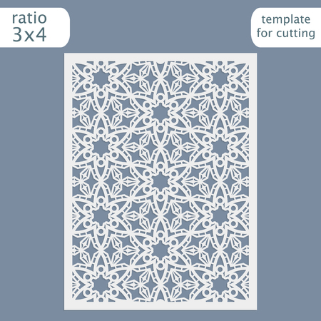 Laser cut wedding invitation card template.  Cut out the paper card with lace pattern.  Greeting card template for cutting plotter. Congratulation to Christmas or New Year. Vector.