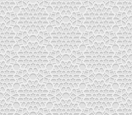 desktop pc: Seamless arabic geometric  pattern, 3D white background, indian ornament, persian motif, vector texture. Endless texture are suitable for web page  background, as background desktop PC, etc.