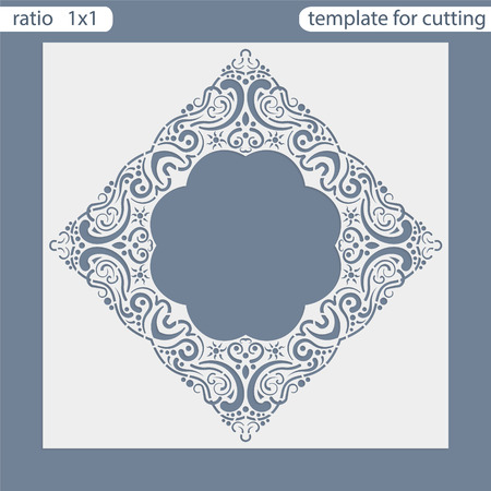 openwork: Laser cut wedding invitation card template.  Cut out the paper card with lace pattern.  Greeting card template for cutting plotter. Photo frame are laser cut from a plate. Vector. Illustration