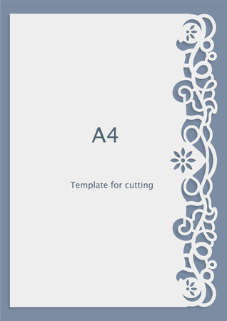 appearance: A4 paper lace greeting card, wedding invitation, cut-out template,  template congratulation, perforation pattern, laser cutting template,  vector