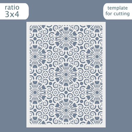 decorative pattern: Laser cut wedding invitation card template.  Cut out the paper card with lace pattern.  Greeting card template for cutting plotter. Congratulation to Christmas or New Year. Vector.