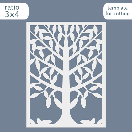 Laser cut wedding invitation card template. Cut out the paper card with lace pattern. Greeting card template for cutting plotter. Natural tree ornament. Vector. 矢量图片