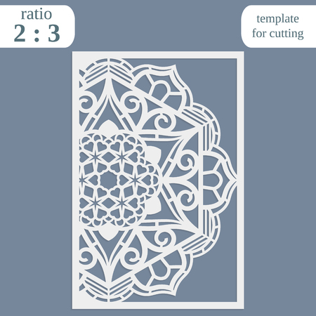 wood carving: Laser cut wedding card template, paper openwork greeting card, template for cutting, lace invitation, lasercut metal panel, wood carving, greetings for Christmas or New Year  vector illustration