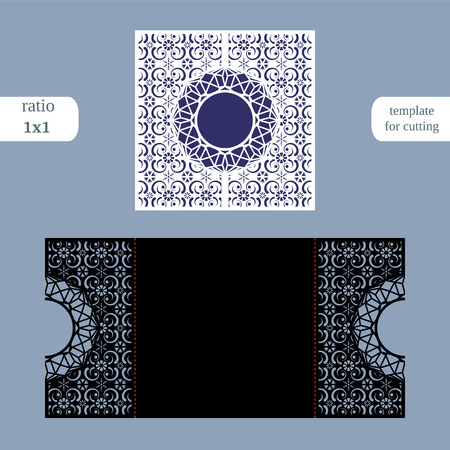 perforation: Laser cut christmas square card template. Cut out the paper card with lace pattern.  Greeting card template for cutting plotter. Congratulation to Christmas or New Year.  Metal plate cut by laser.