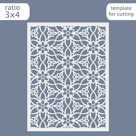 Laser cut wedding invitation card template. Cut out the paper card with lace pattern. Greeting card template for cutting plotter. Congratulation to Christmas or New Year. Vector. 矢量图片