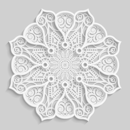 punching: Lace 3D mandala, round symmetrical openwork pattern, lacy doily, decorative  snowflake, arabic ornament, indian ornament, embossed pattern, decorative design element,  vector
