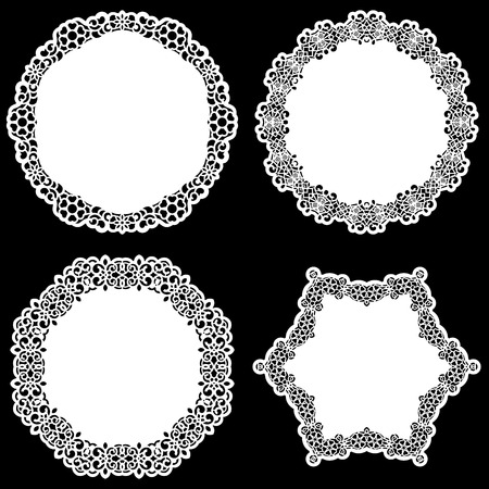 clothing rack: Set of design elements, lace round paper doily, doily to decorate the cake, template for cutting, snowflake, greeting element, metal plate cut by laser,  vector illustrations