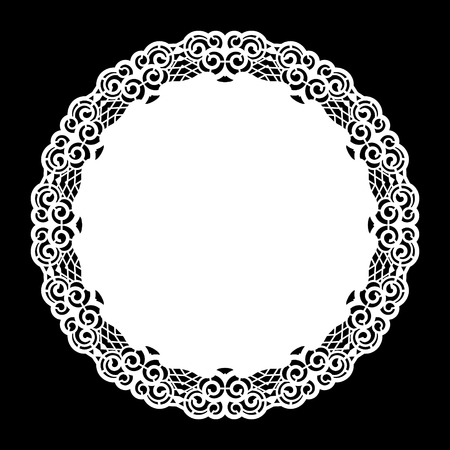 clothing rack: Lace round paper doily, lacy snowflake, greeting element,  template for cutting  plotter, round pattern, laser cut  template, doily to decorate the cake,  vector illustrations. Illustration