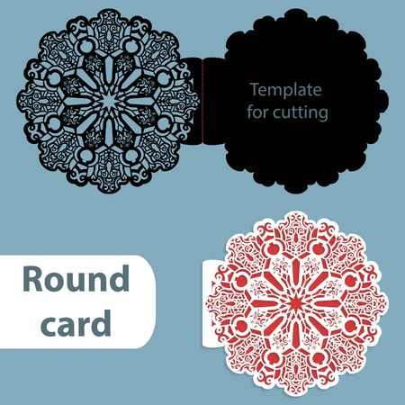 Laser cut wedding round card template, paper openwork greeting card, template for cutting, lace invitation, card for Christmas and New Year,  illustration