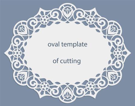 Grußkarte mit durchbrochenen oval Grenze, Papier Deckchen unter dem Kuchen, Schablone zum Schneiden, Hochzeitseinladung, Dekorplatte ist Laser geschnitten, Vektor-Illustrationen. Standard-Bild - 69074049