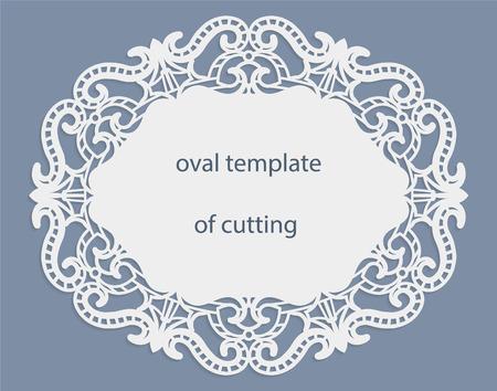 透かし彫りの楕円形のボーダー、ケーキの下でペーパー ドイリー、切削、結婚式の招待状用のテンプレートとグリーティング カード装飾プレートはレーザー カット、レース エッジ、ベクトル イラストのフレームです。 写真素材 - 69063639