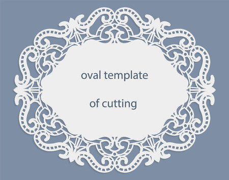 cutting edge: Greeting  card with openwork  oval border, paper doily under the cake, template for cutting, wedding invitation, decorative plate is laser cut, frame with lace edge, vector illustrations.