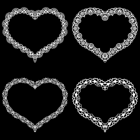 the appearance: Laser cut frame in the shape of a heart with lace border.  A set of the foundations for paper doilys for a wedding. A set of the foundations for valentines or photo frames. Vector templates for cutting out.