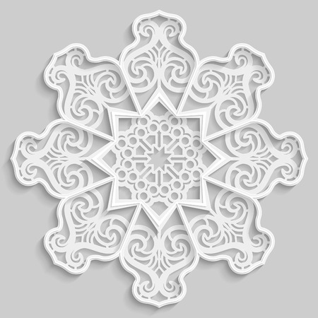 Lace 3D mandala, round symmetrical openwork pattern, lacy doily, decorative  snowflake, arabic ornament, indian ornament, embossed pattern, decorative design element,  vector