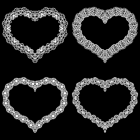 pasteboard: Laser cut frame in the shape of a heart with lace border.  A set of the foundations for paper doily for a wedding. A set of  valentines or photo frames. Vector templates for cutting out.