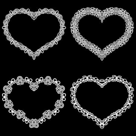 out of shape: Laser cut frame in the shape of a heart with lace border.  A set of the foundations for paper doily for a wedding. A set of  valentines or photo frames. Vector templates for cutting out.