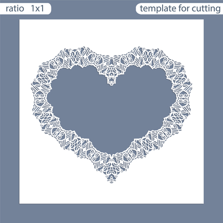 out of shape: Laser cut wedding invitation card template.  Cut out the paper card with lace pattern.  Greeting card template for cutting plotter. Frame in the shape of a heart. Photo frame are laser cut. Vector.