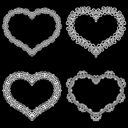 Laser cut frame in the shape of a heart with lace border.  A set of the foundations for paper doily for a wedding. A set of  valentines or photo frames. Vector templates for cutting out.