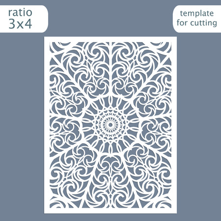 Laser cut wedding invitation card template.  Cut out the paper card with lace pattern.  Greeting card template for cutting plotter. Vector. 일러스트
