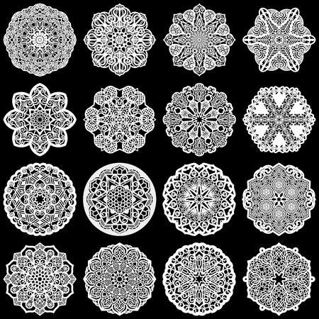 clothing rack: Large  set of design elements, lace round paper doily, doily to decorate the cake, template for cutting, greeting element,  snowflake, laser cut;  vector illustrations