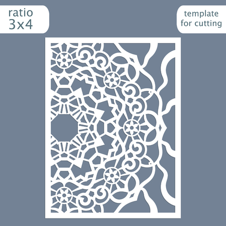 perforation: Laser cut wedding invitation card template.  Cut out the paper card with lace pattern.  Greeting card template for cutting plotter. Vector. Illustration